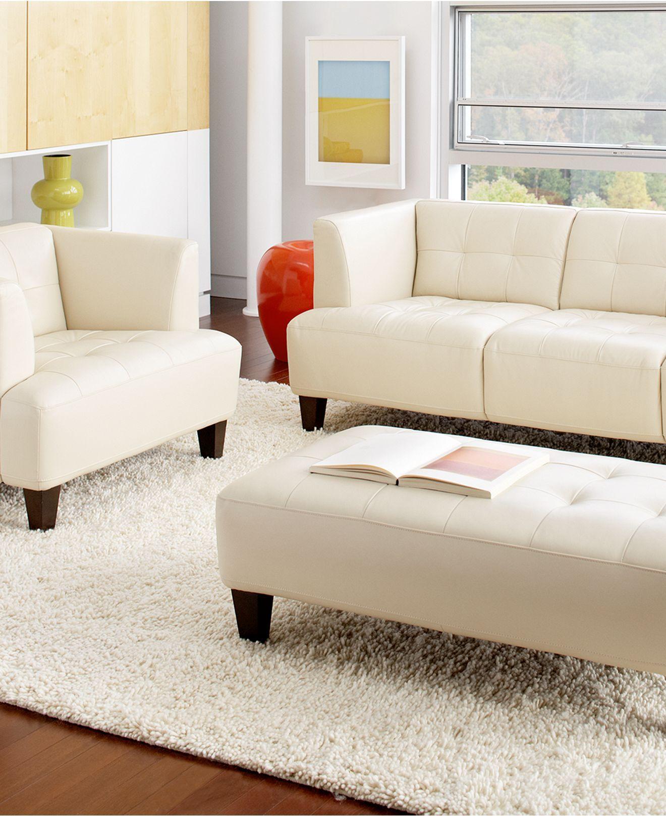 Alessia Leather Sofa Living Room Furniture Sets & Pieces ...