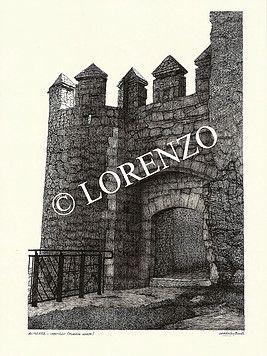 Almansa Castillo Puerta De Poniente Dibujo A Plumilla Sobre Papel Dibujo A Pluma Plumas Sobres De Papel