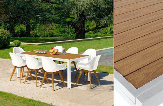 Sitzgruppe Tisch CAPRI 2 m + 8 Sessel OSLO Weiß #Gartenmöbel