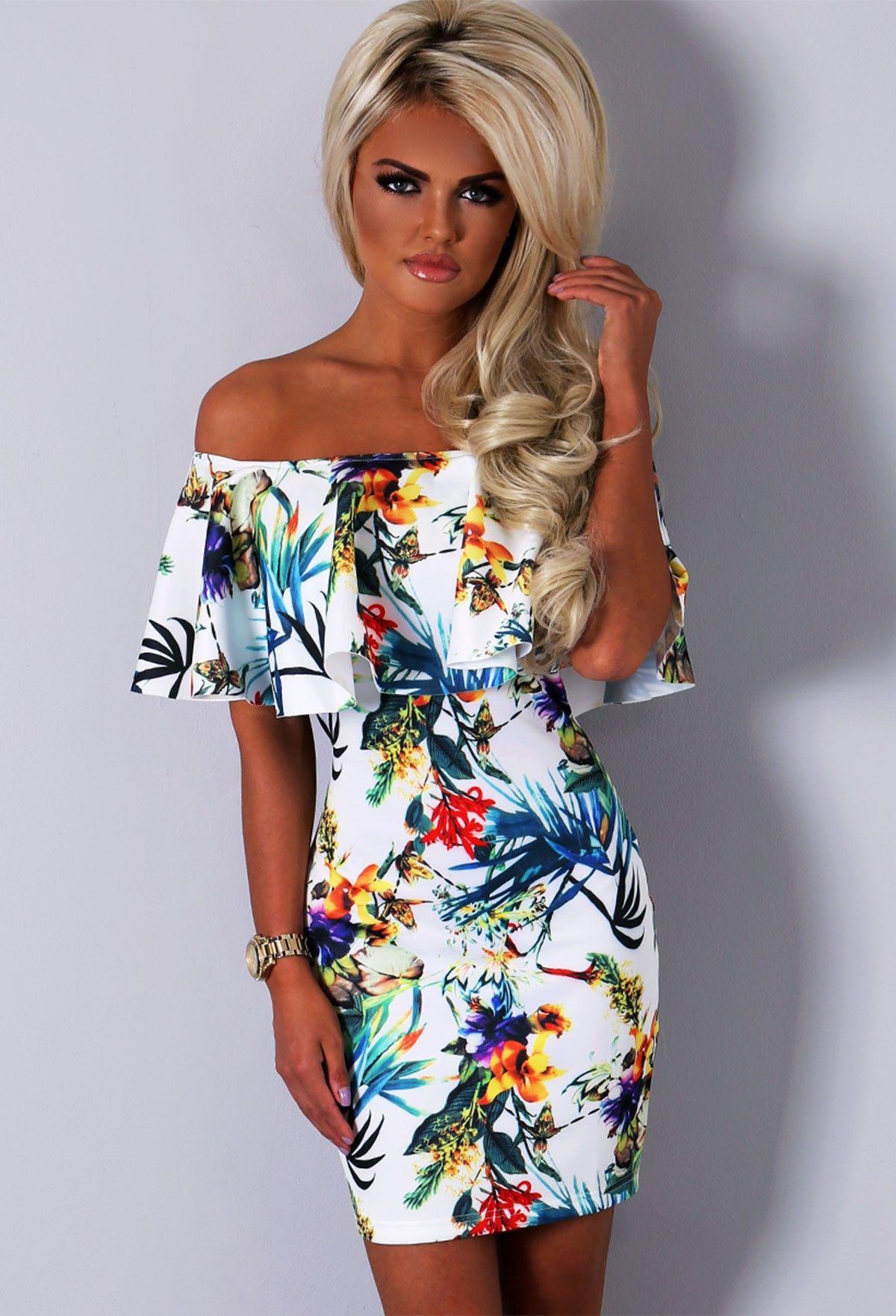Latest Womens Fashion Clothing Dresses: Zamamba Tropical Print Peplum Mini Dress