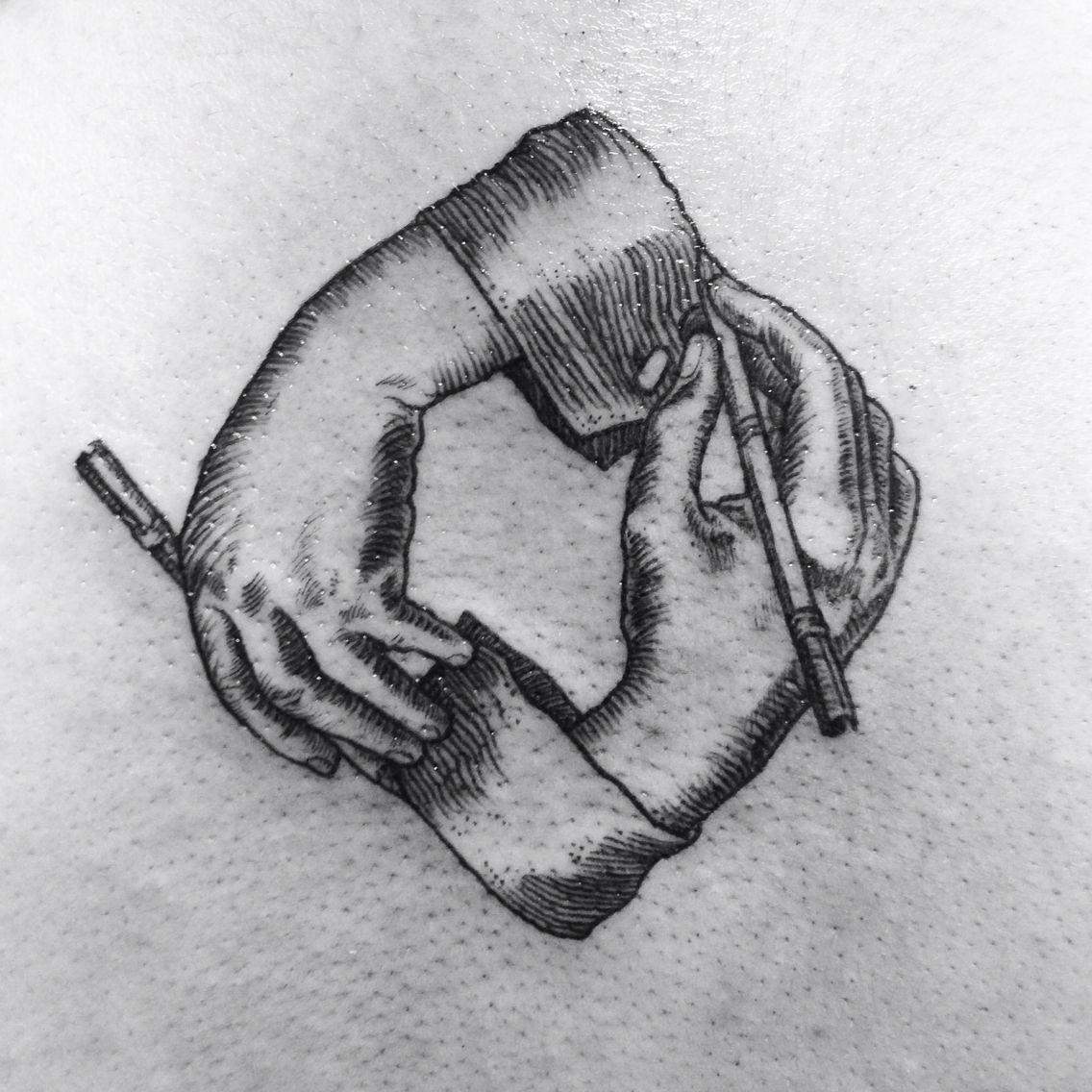 Escher drawing hands by Sol Tattoo