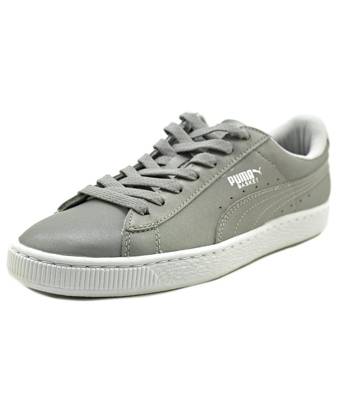 Stylish Puma Basket Reflective Round Toe Synthetic Gray Sneakers Grey For Men Sale