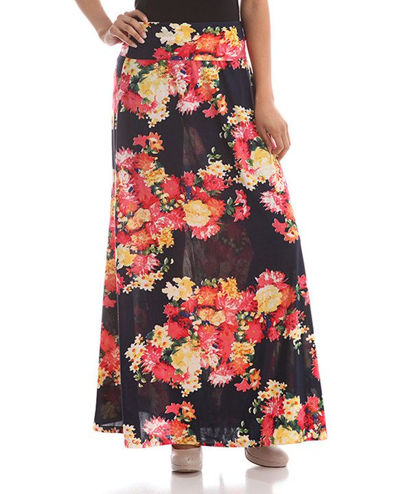 aa27374ae4c Look at this BOLD   BEAUTIFUL Black   White Floral Maxi Skirt - Women on  zulily  today!