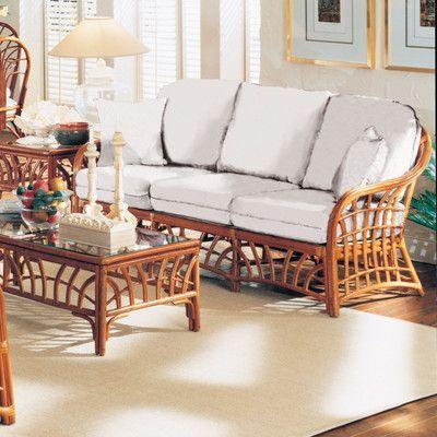 South Sea Rattan New Kauai Sofa Upholstery Dening Greige Natural
