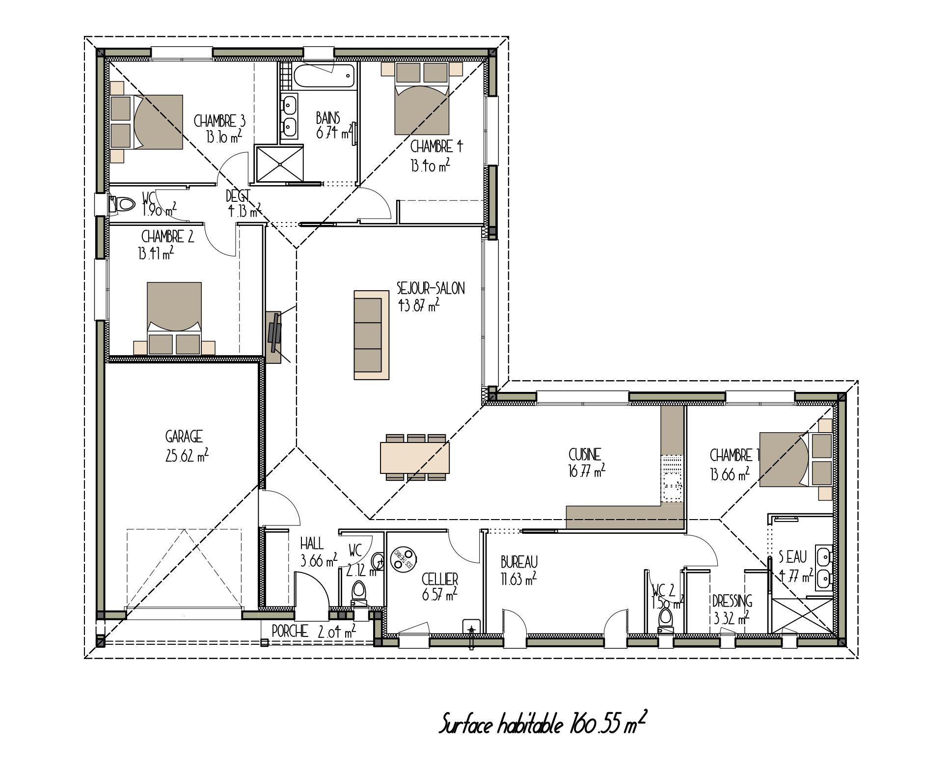 Plan maison contemporaine projet n5