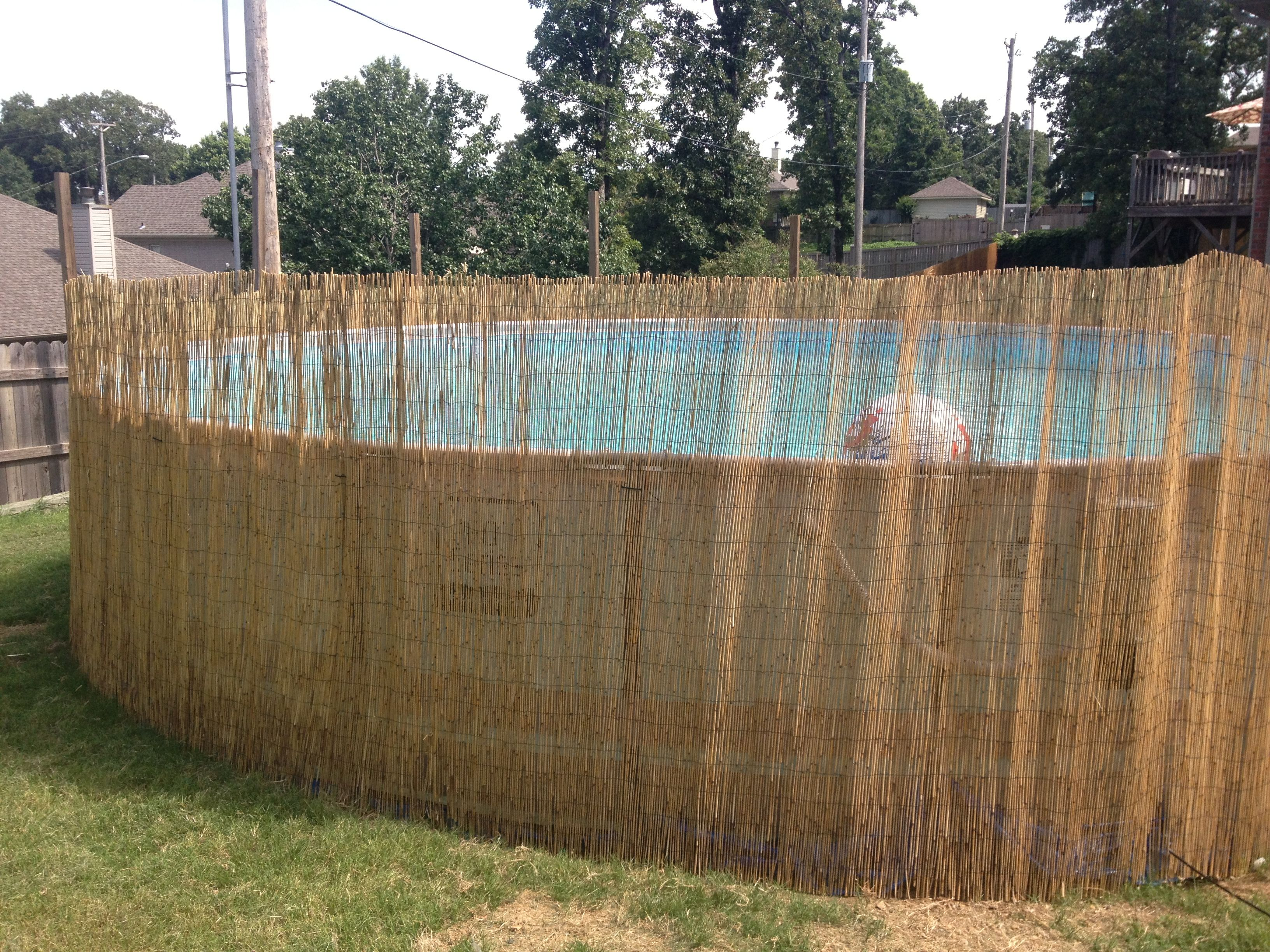 Add Reed Fence Around Above Ground Pool Above Ground Pool