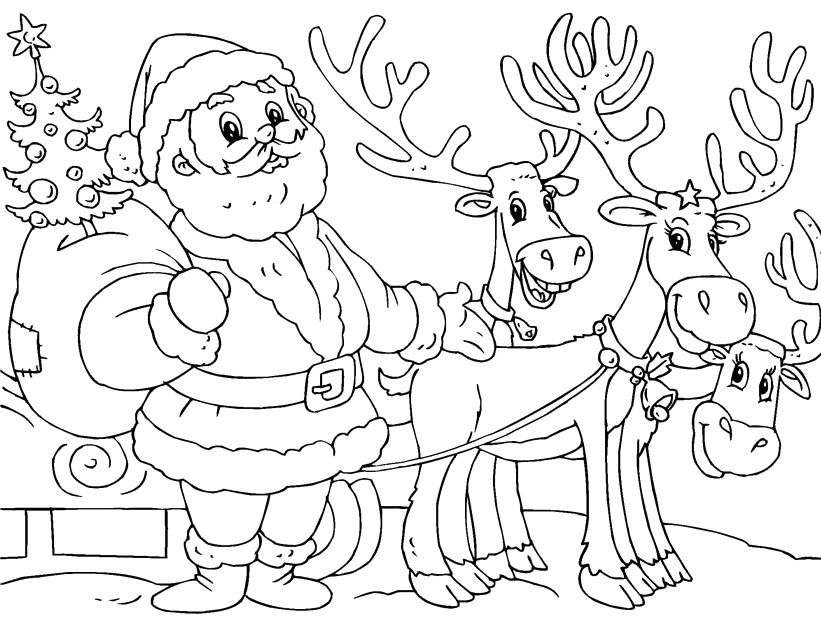 Printable santa and reindeer coloring page christmas for Santa with reindeer coloring pages