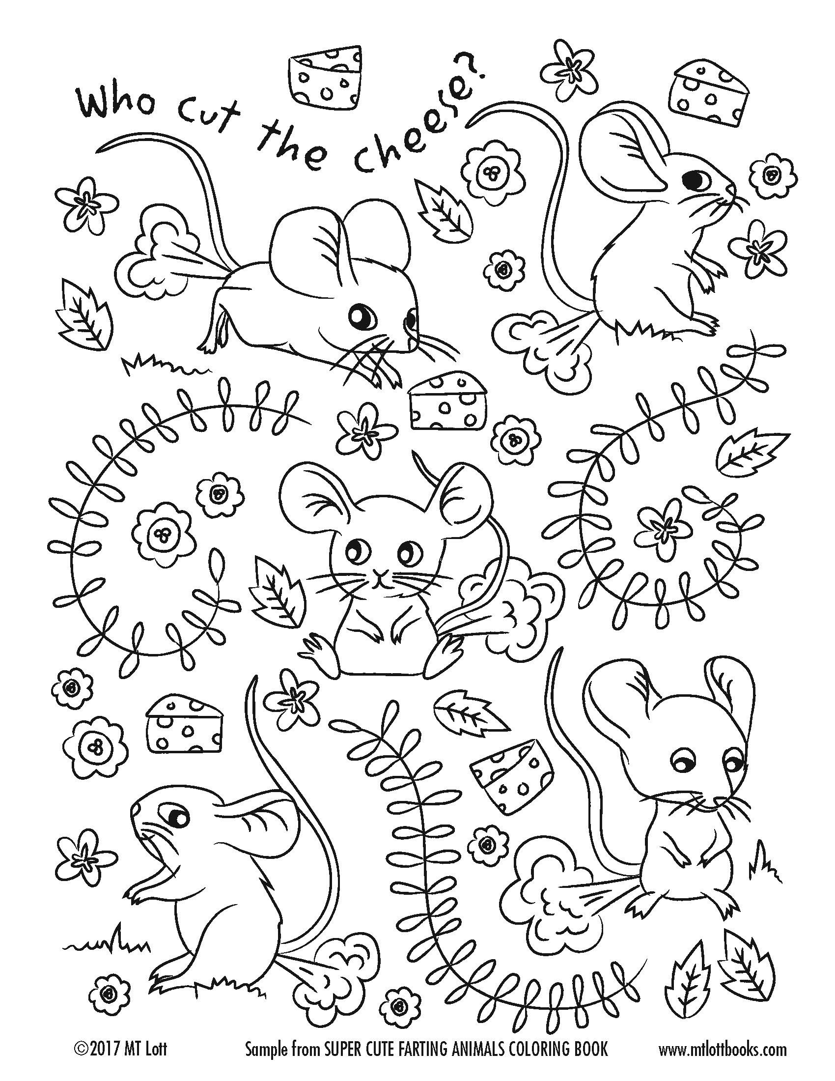 Free Coloring Page From MT Lotts Super Cute Farting Animals Book