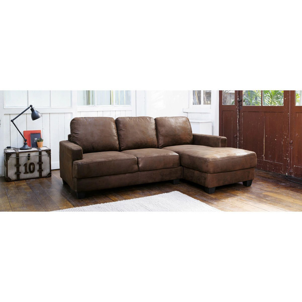 Reclining Sofa  seater imitation suede RHF corner sofa in brown Philadelphie Maisons du Monde