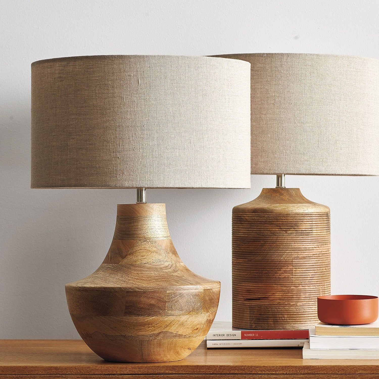 Solid Mango Wood Table Lamp Hand Carved With Rows Of Dimensional