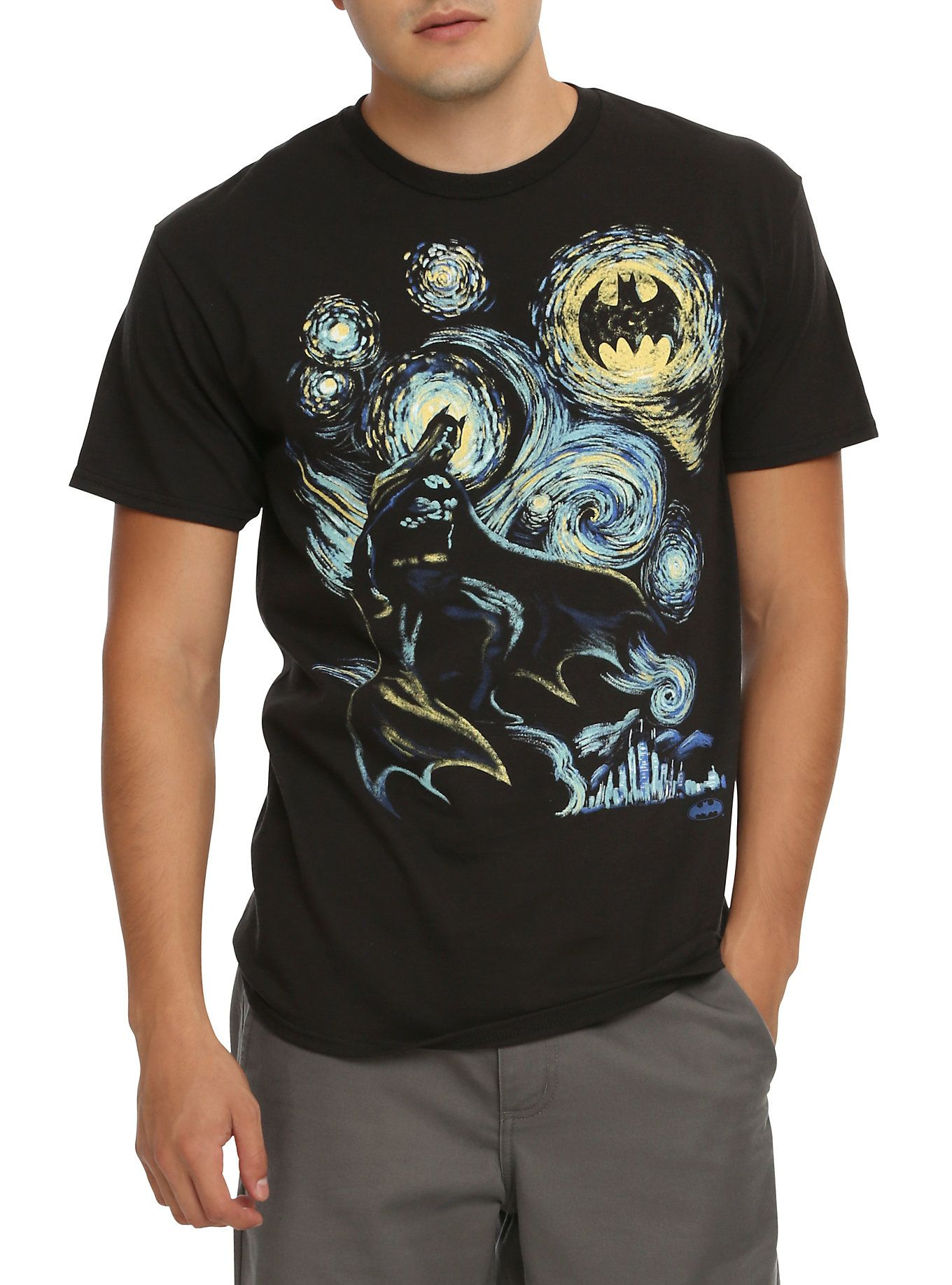 Black t shirt batman - Black T Shirt From Dc Comics With The Starry Night Inspired Batman Design Dry Low Imported Listed In Men S Sizes