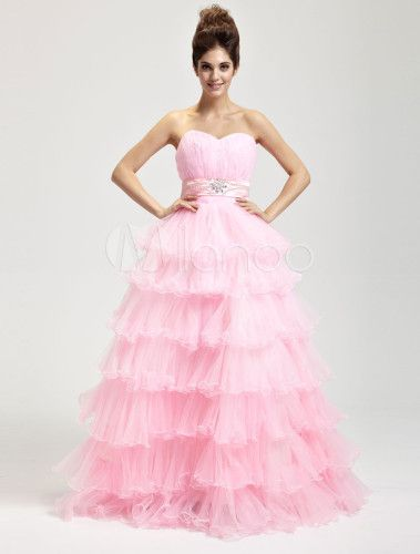 Pink Hard Yarn Floor Length Masquerade Ball Gowns - Milanoo.com