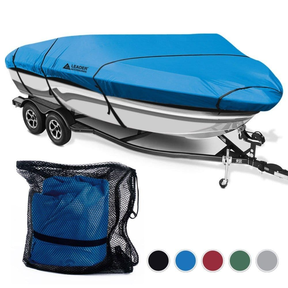 V-Hull Fish Ski I//O 17/' 18/' 19/' Boat Trailerable Cover All Weather Blue Color FT