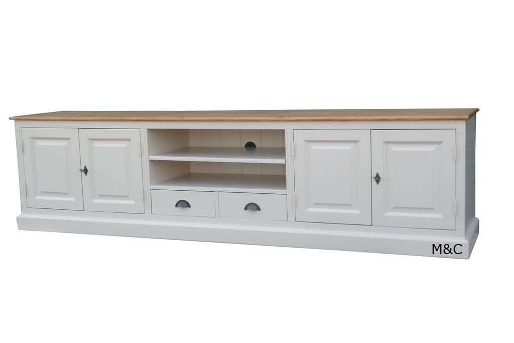 Meuble tv bois naturel affordable buffet bois brut for Meuble tv bas long blanc