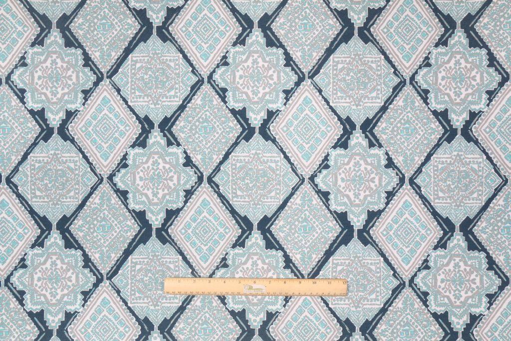 Premier Prints Milan Printed Cotton Drapery Fabric in Oxford/Ocean $8.98 per yard