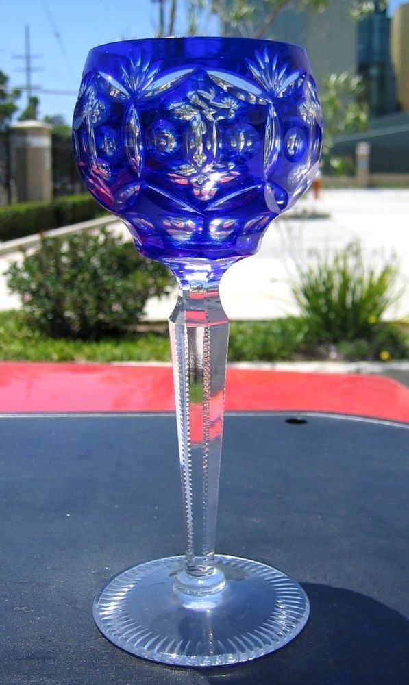 TALL Imperial Cobalt Blue Wine Glass-Bohemian Crystal Etched Rare Fine Glass VTG  US $49.95 in Pottery & Glass, Glass, Art Glass