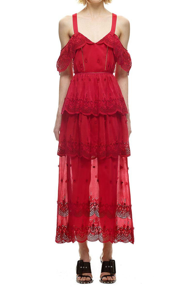 003abc273c21  335.00 Self Portrait Raspberry Red Off-Shoulder Dress