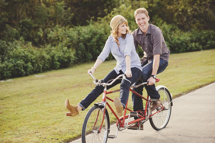 Sportive Couple On Bicycles Romantic Couple Ride Bike Tandem