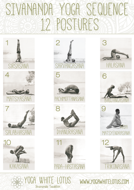 Sivananda Yoga 2 Postures Chart Health