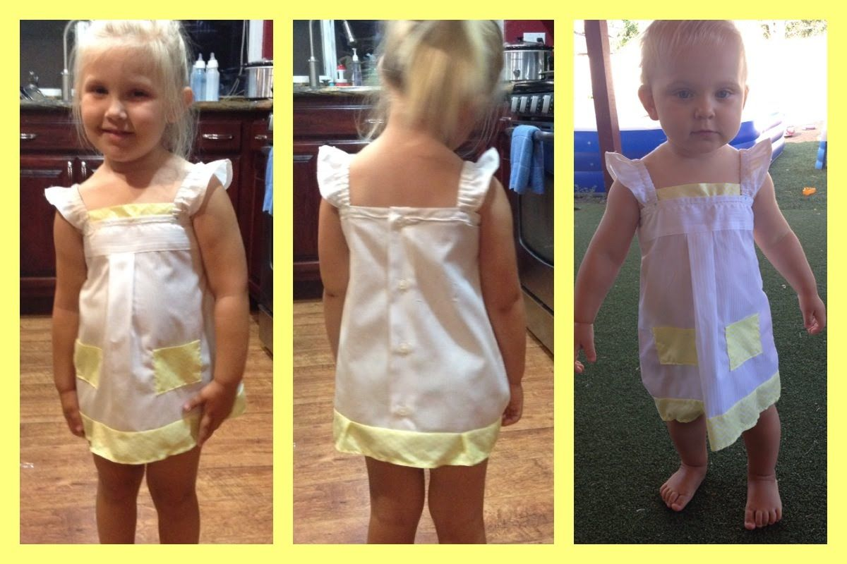 Up-Cycled Mens Dress Shirt into Girls Dress w straps   Video Tutorial