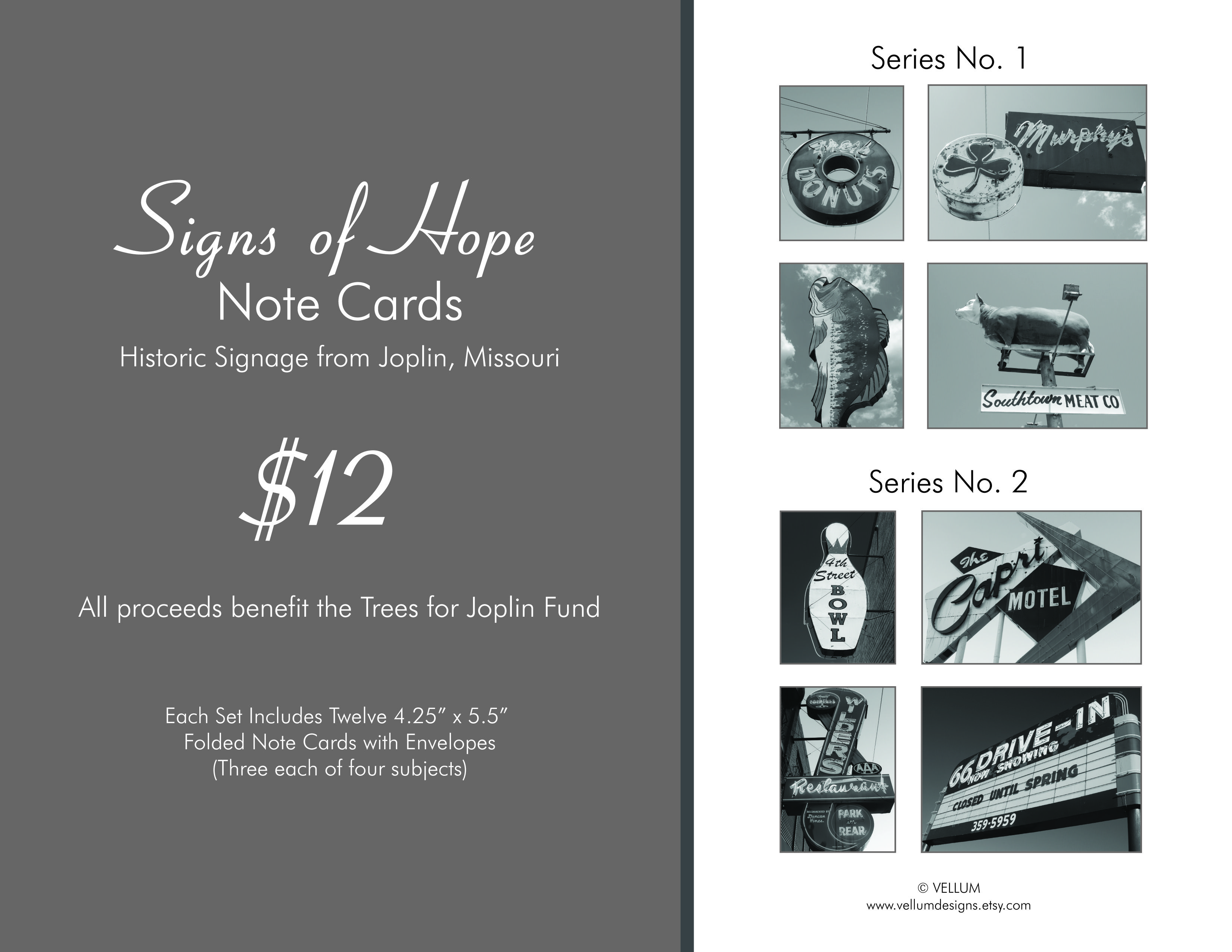 Cool note cards featuring Joplin's iconic signs  Benefits
