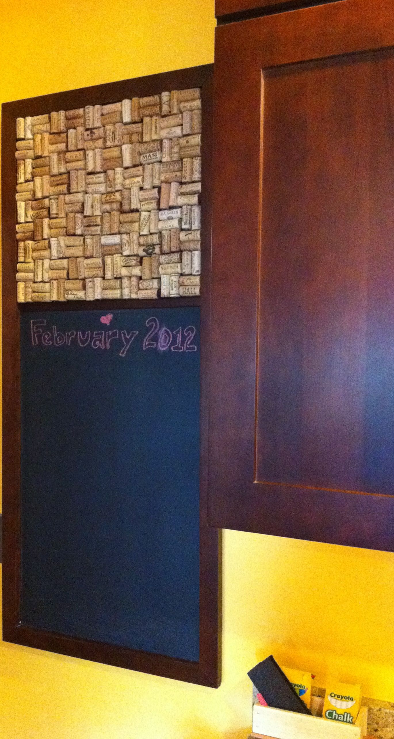 homemade wine cork board chalk board to cover a fuse box [ 1370 x 2568 Pixel ]
