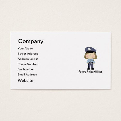Future Police Officer Girl Business Card Zazzle Com Printing Business Cards Police Officer Police