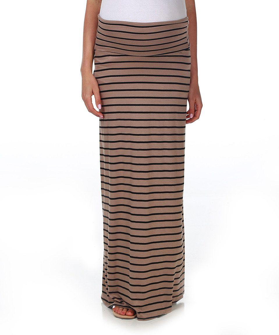afea5446173b7 PinkBlush Mocha Black Stripe Maternity Maxi Skirt by PinkBlush Maternity  #zulilyfinds