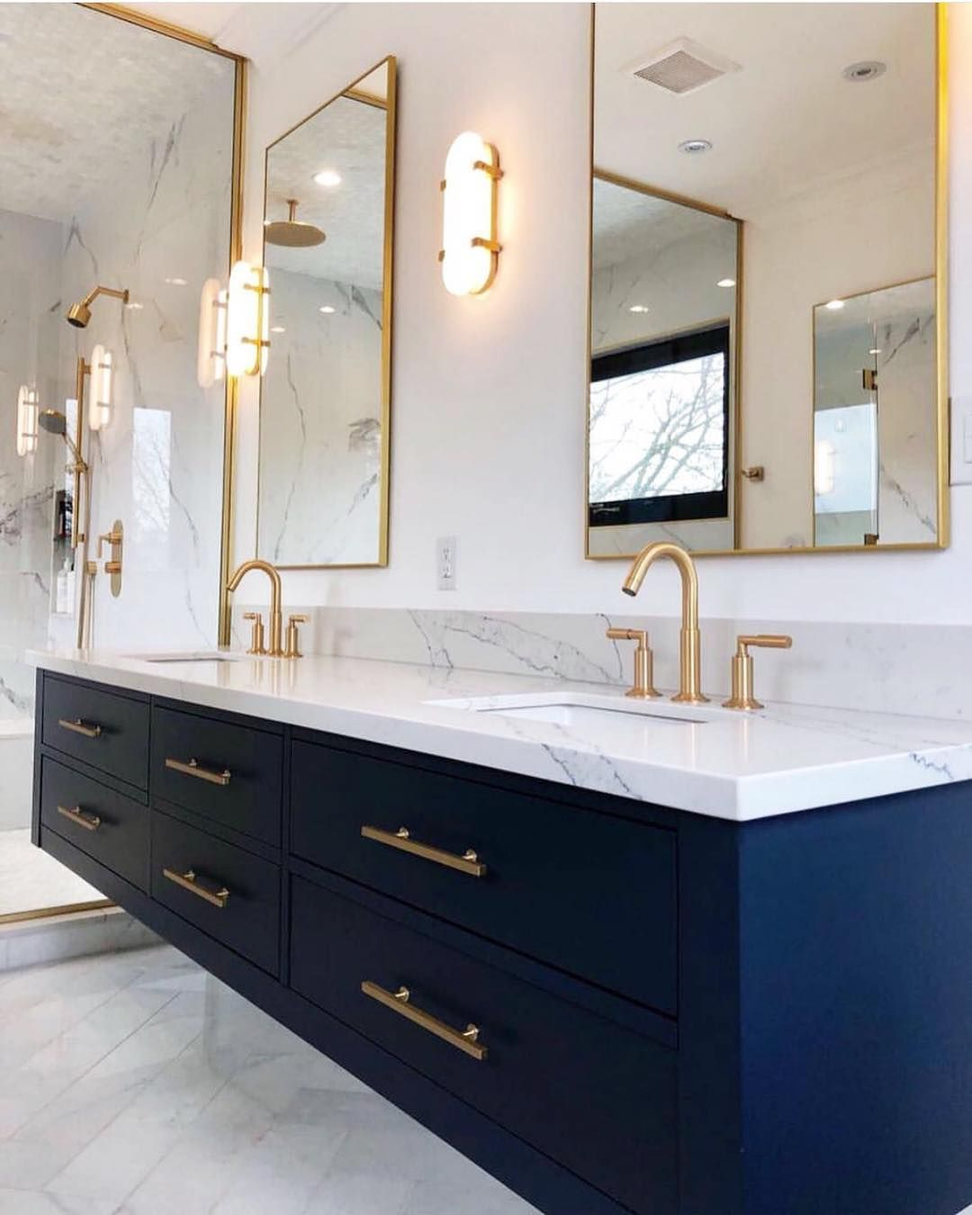 Bathrooms Of Instagram On Instagram Floating Vanity Done Right By Bonbuildinggroup F Floating Bathroom Vanities Bathroom Design Bathroom Interior Design