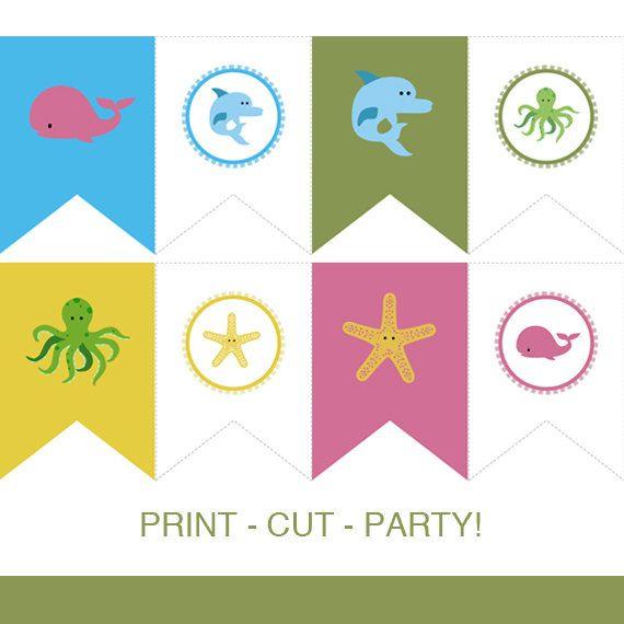 Instant Download Pennant Banner Sea Creatures Printable Diy Pdf