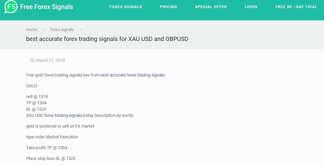Free Gold Forex Trading Signals Live From Best Accurate Free Forex