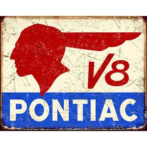 Distressed 13 x 16 Wall Decor Historic Logo Pontiac V8 Retro Vintage Tin Sign
