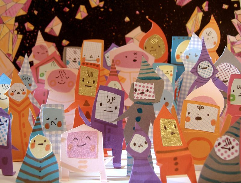 Adorable paper people models by Philippa Rice.