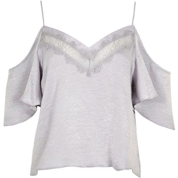 1fd2aff427d8f5 Topshop Cold Shoulder Lace Insert Camisol Top ( 16) ❤ liked on Polyvore  featuring tops