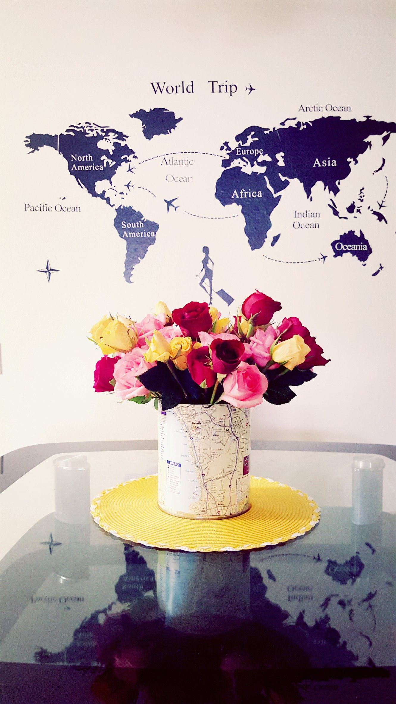 Roses Diy Use Big Can To Create Beautiful Vase Yellow Red Pink