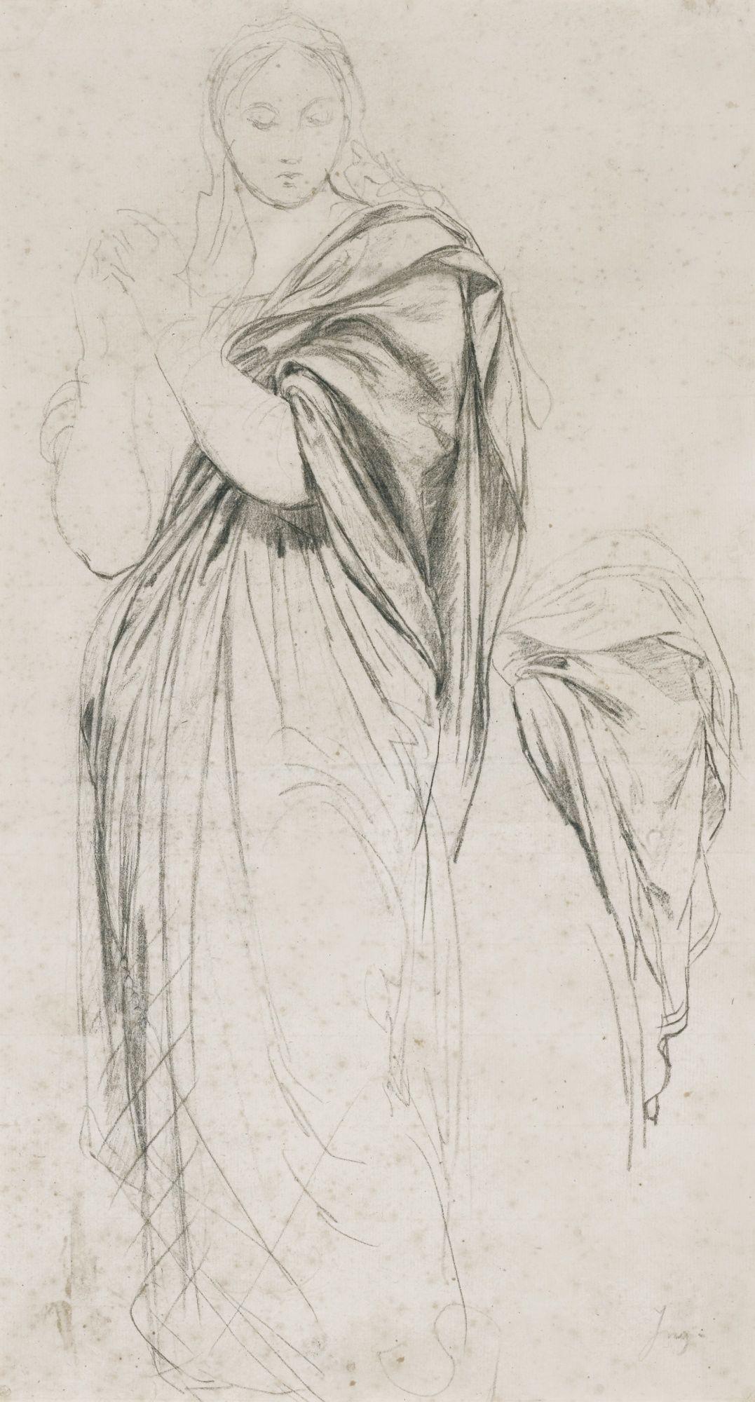 Etude préliminaire pour le Vœu de Louis XIII, 45,5 x 25,4 cm, craie noire