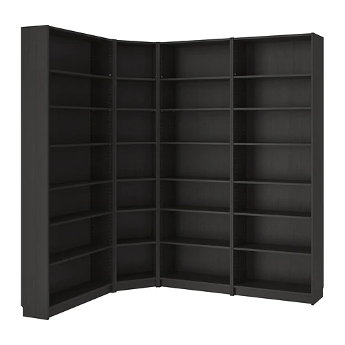 BILLY Bookcase combination/crnr solution, white stained ...