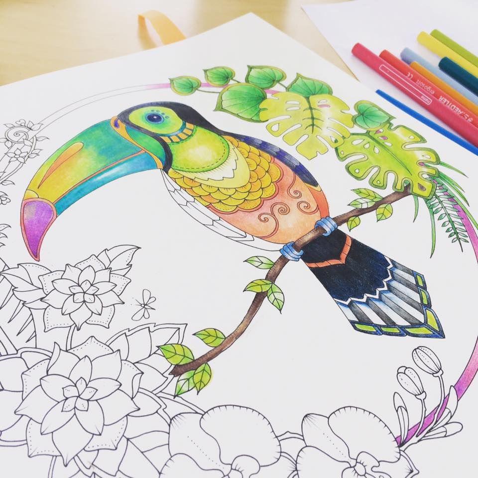 Pin Van Ana Julia Procopio Op J Basford Tukan I Kleurboek Kleuren Kleurplaten