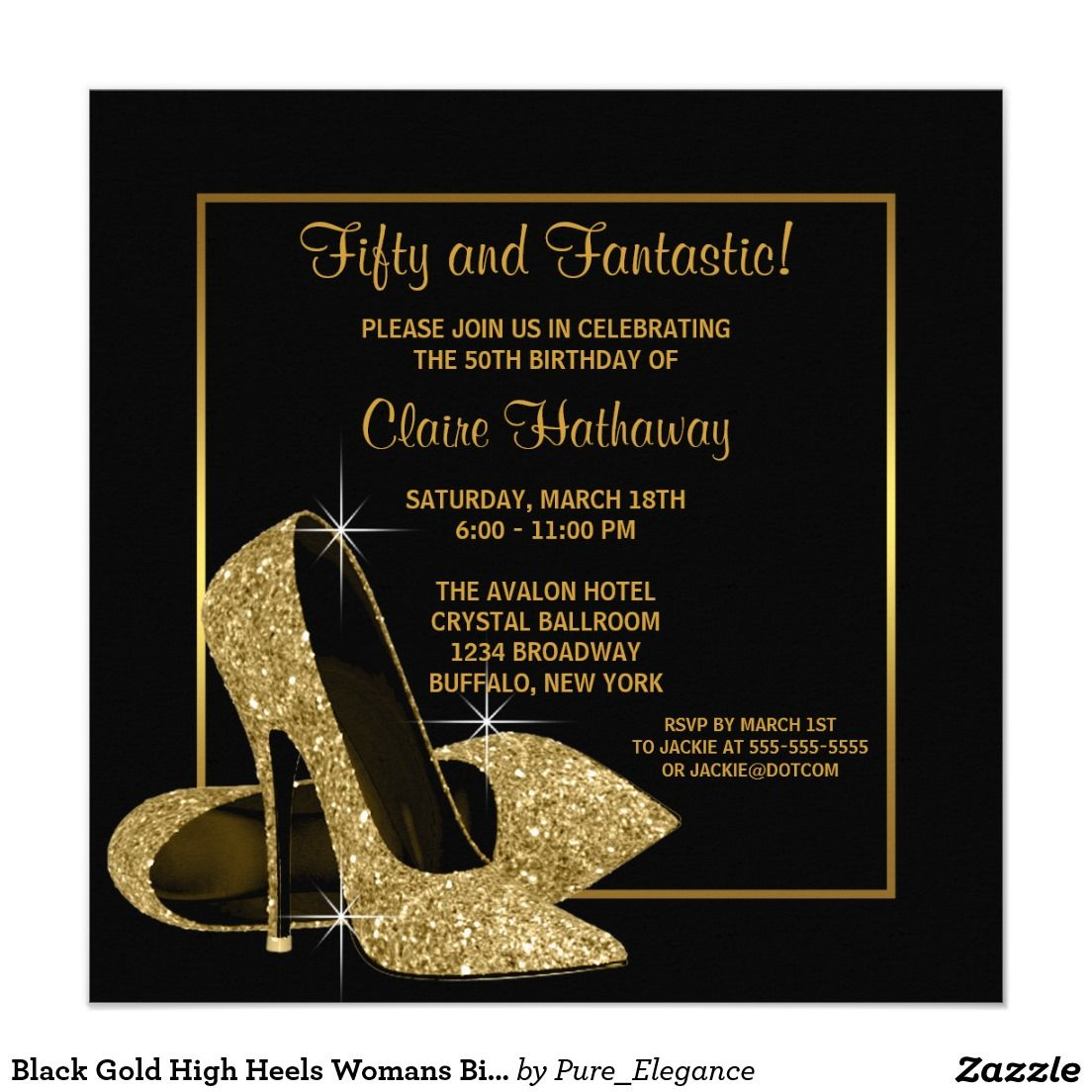 Black Gold High Heels Womans Birthday Party Invitation In 2018