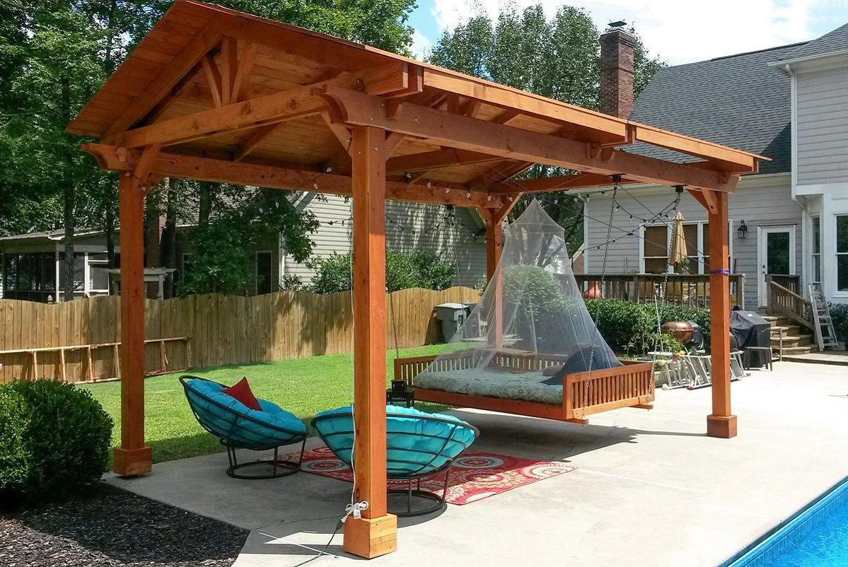 Covered pergolas made of pure redwood outdoor ideas for Plans for arbors