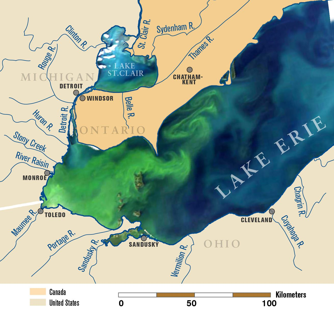 Satellite Image Of Lake Erie In September Overlaid On A Map - Map of current us political issues