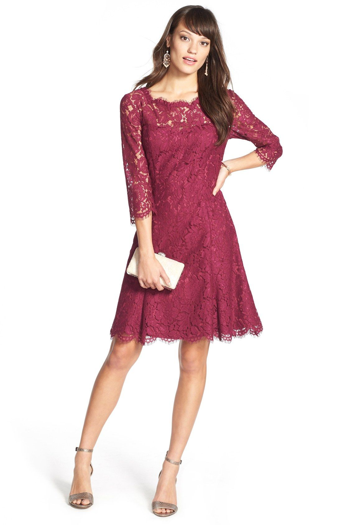 Burgundy Lace Dress Perfect Outdoor Fall Wedding Guest