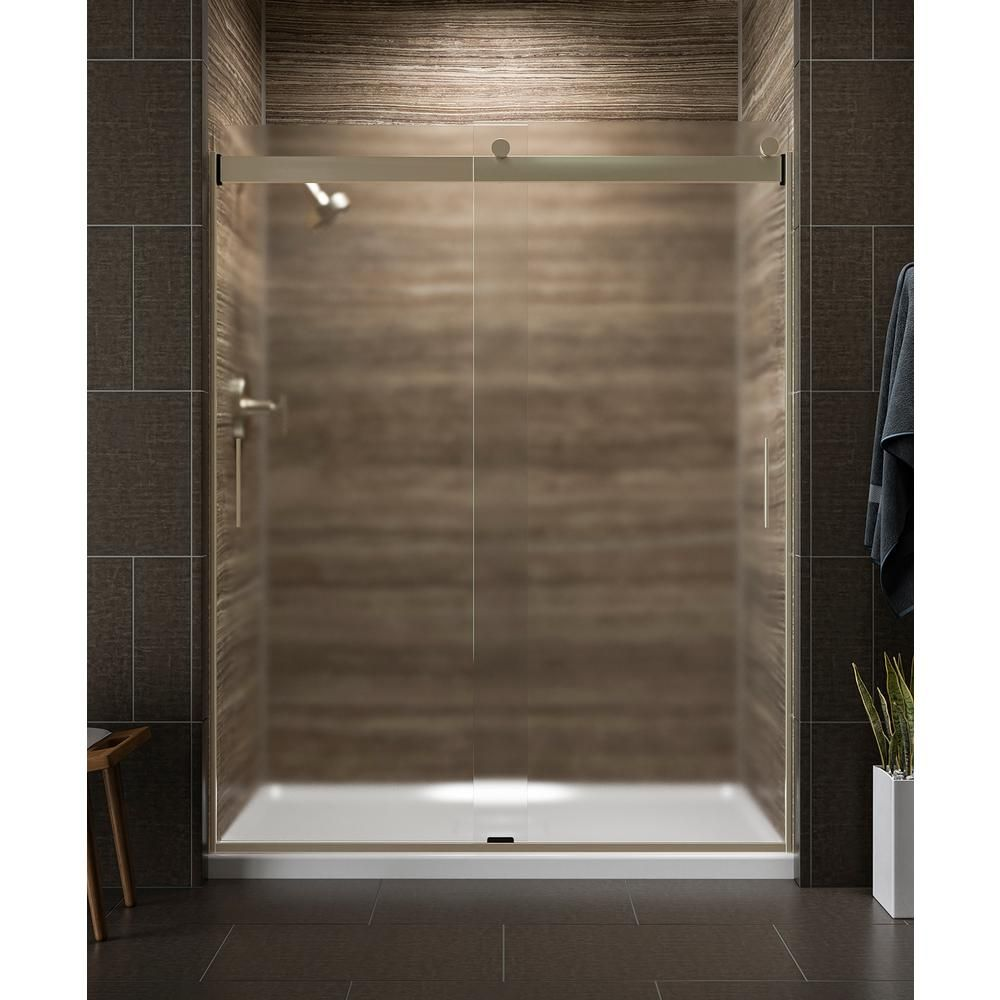 KOHLER Levity 59 in. x 74 in. Semi-Frameless Sliding Shower Door in Silver with Handle #framelessslidingshowerdoors