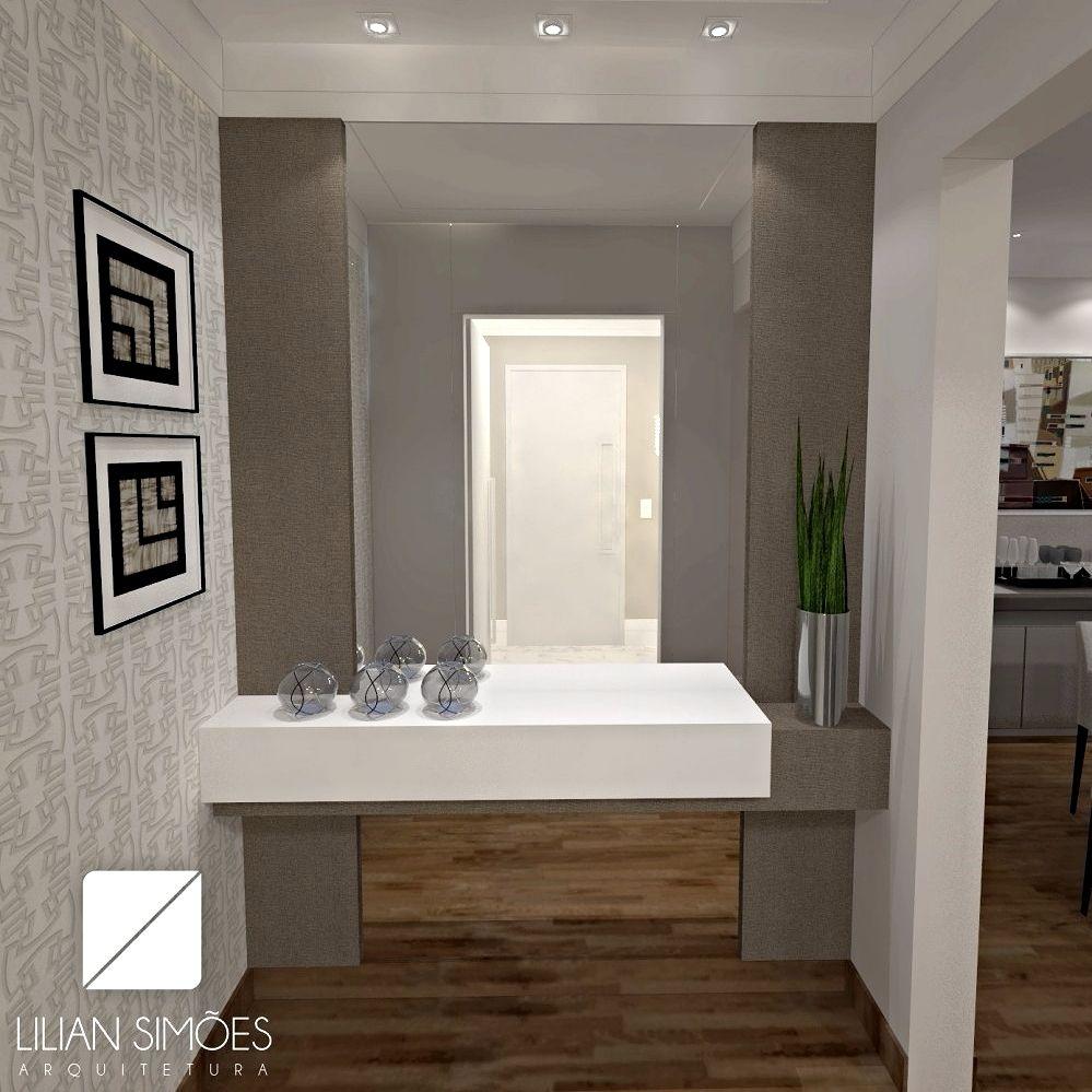 Hall de entrada apartamento com aparador em laca branca, paineis em MDF Cobre e espelho para