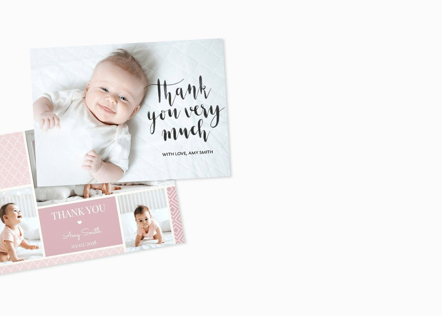 Photo Thank You Card Template Awesome 021 Template Ideas Thank You Postcard Uk Baby Photo Thank You Cards Thank You Card Template Baptism Thank You Cards