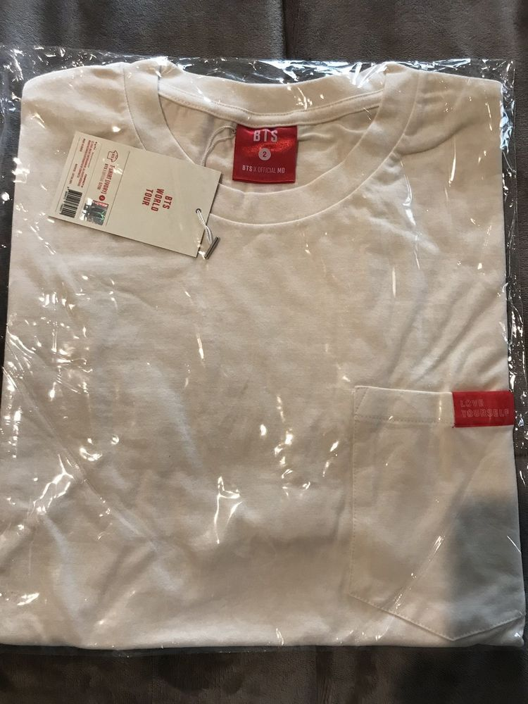 BTS OFFICIAL MERCH T-SHIRT (IVORY) SIZE 2 Red Accents Love Yourself