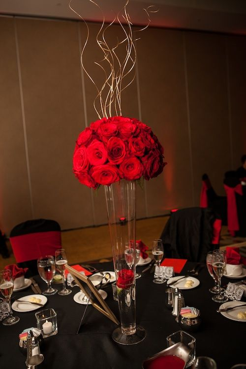 Elegant Red Roses Centerpiece Rose Centerpieces Red