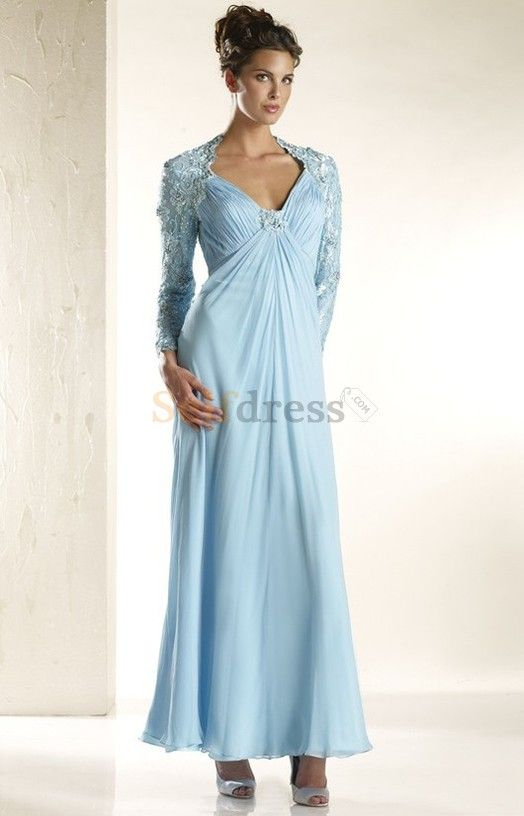 Pleated Ankle Length Fancy Sheath Long Sleeves Evening Dress ...