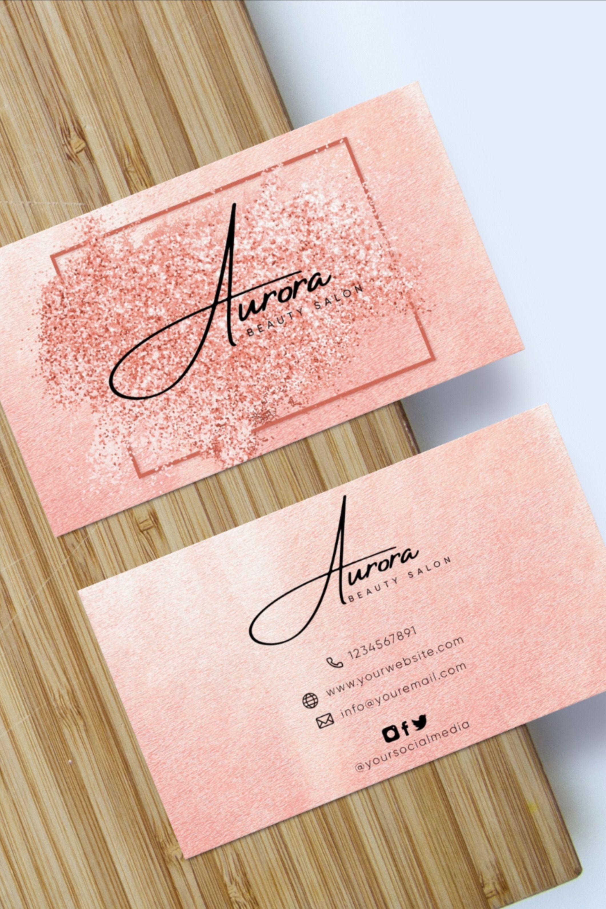 Editable Business Card Pink Gold Feminine Delicate Minimalistic Brilliant Pink Diy Business Card Template In 2021 Beauty Business Cards Business Cards Diy Templates Pink Business Card