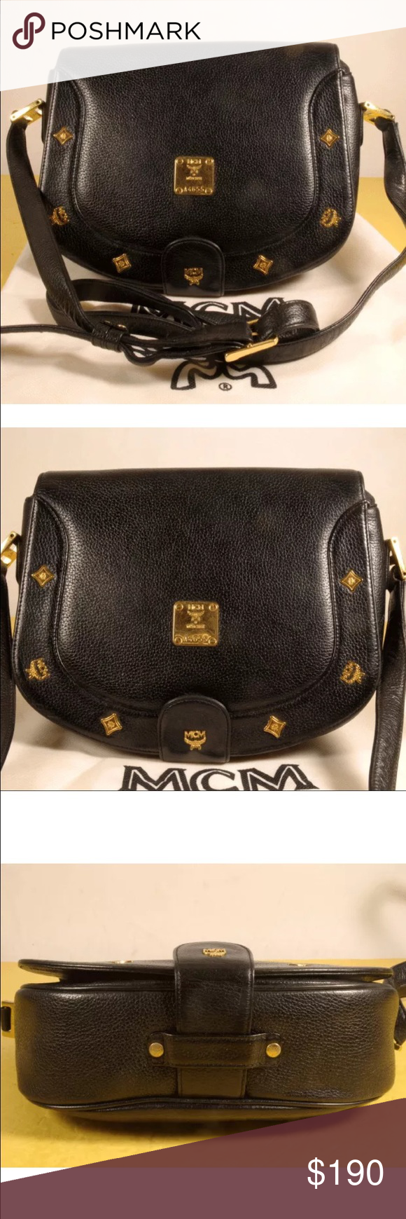 cbaa87bf46e5 Vintage black leather MCM cross body purse In great condition. With dust bag  MCM Bags Crossbody Bags